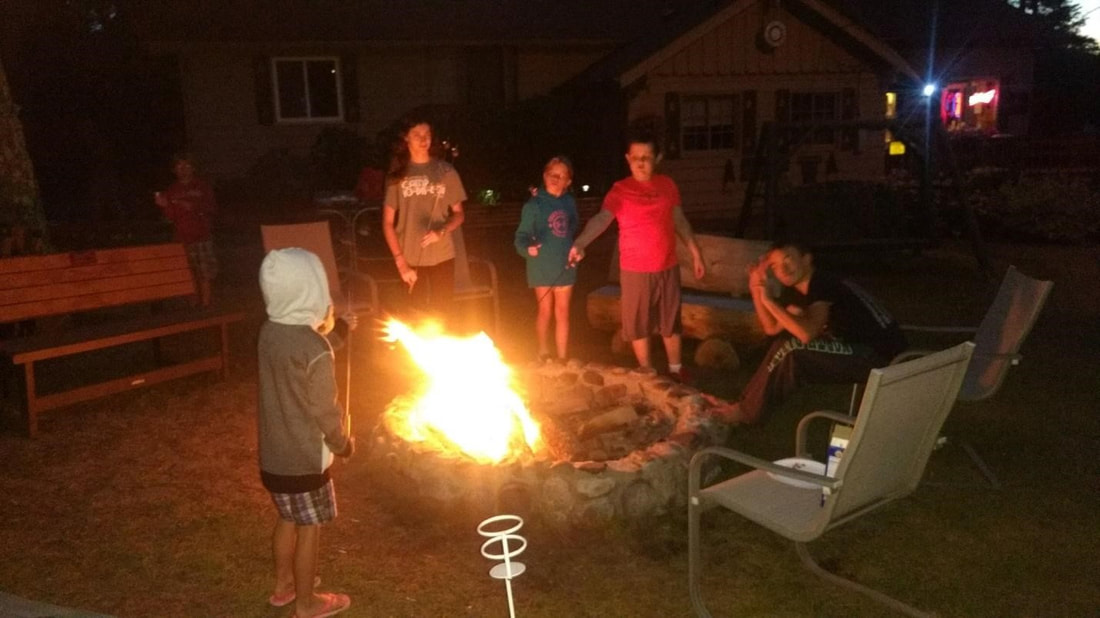 fun around the campfire at Cut Foot Sioux Resort